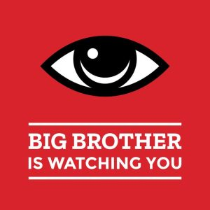 big brother is watching you text with an eye