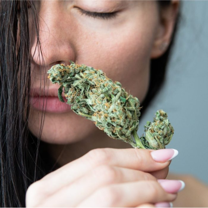 cbd lube hinted at by woman sniffing a cannabis bud sensually
