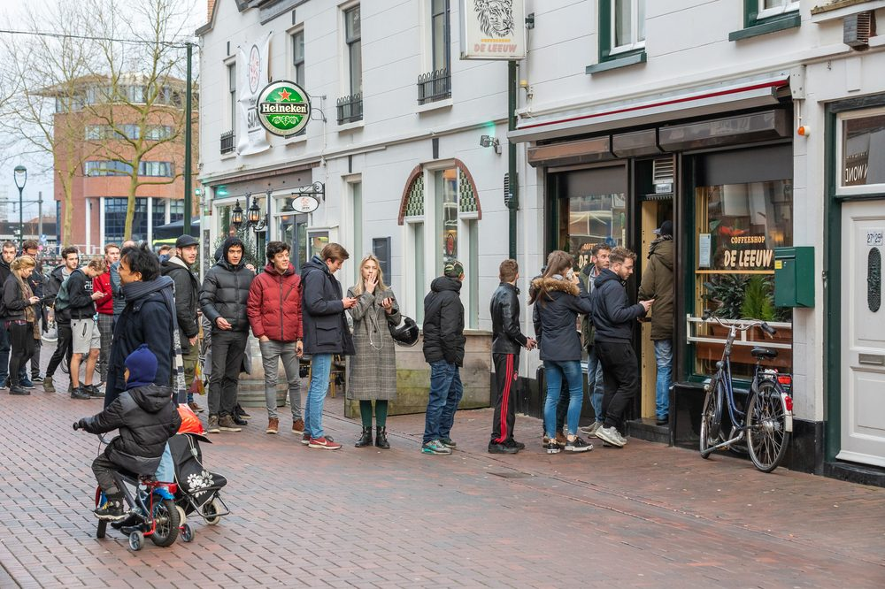 Are You Ready for a cannabis shortage due to long lines like these ar a dispensary in amsterdam