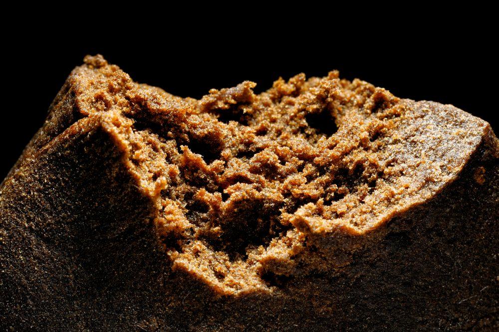 A brick of cannabis hash close up