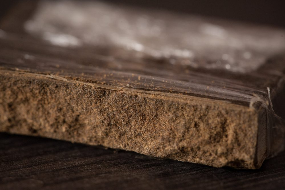 Cannabis hash, like this brick here, requires no solvents to make it