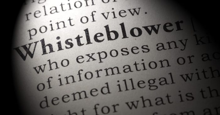what is a whistleblower represented by whistleblower in dictionary