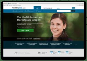 healthcare.gov initial screen