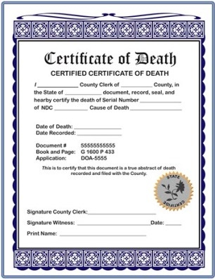 Certificate of Serial Number Death