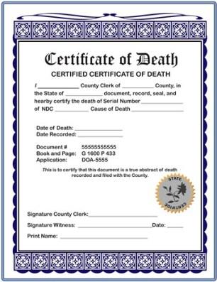 Certificate of Serial Number Death