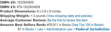 Number 7 on Federal Law best sellers list