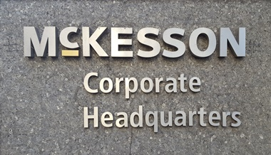 Image of McKesson's sign on their corporate headquarters building in San Francisco, CA