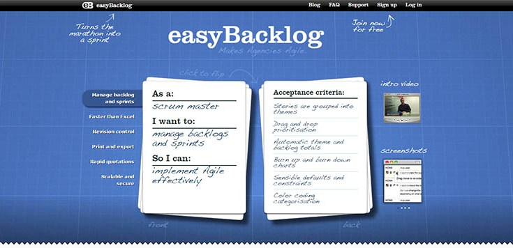 EasyBacklog: una piattaforma web gratuita per lavorare con Scrum online