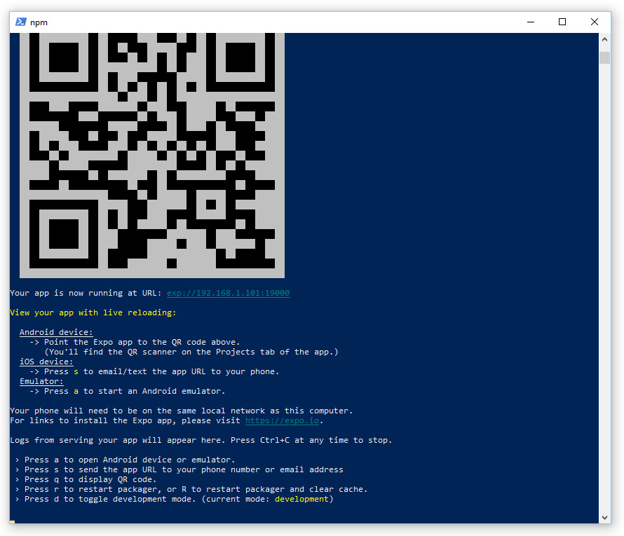 Install React Native on Windows and make it use a given IP