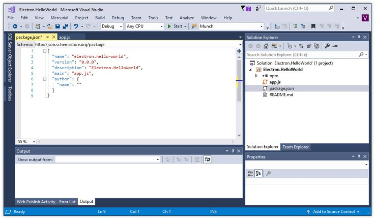 Visual Studio 2017 - How to setup a new Electron project and run a Hello World sample