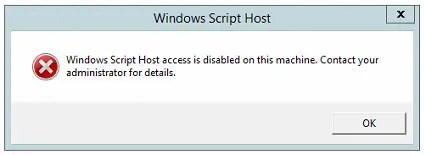 Disable Windows Script Host (WSH) to block .VBS malware