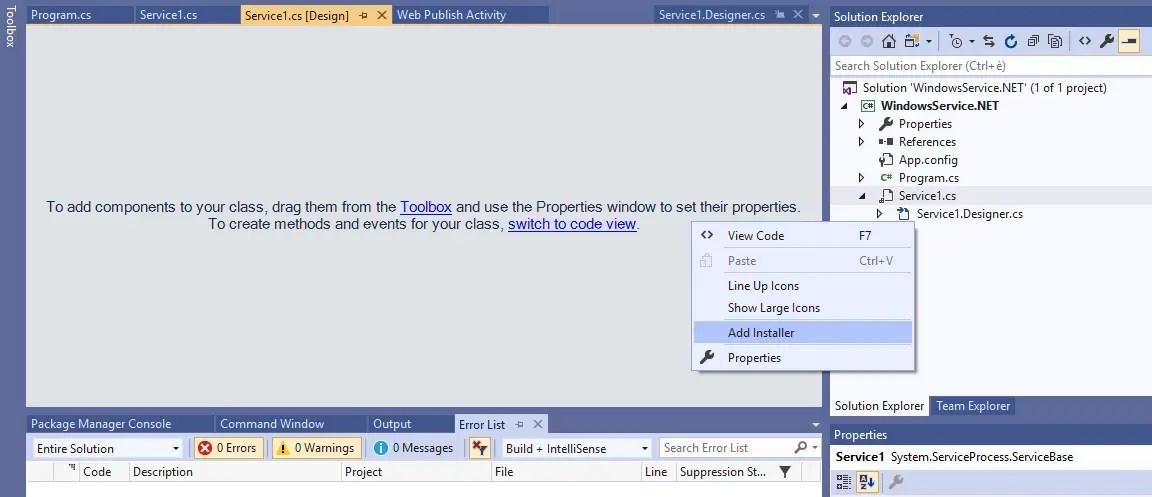 Create a Windows Service in ASP NET C# -  NET Framework