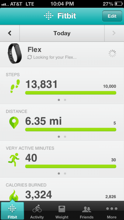 Tracking activity, calories, distance using Fitbit Flex