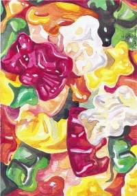 Gummi Love - watercolor painting by Ryan Burdzinski