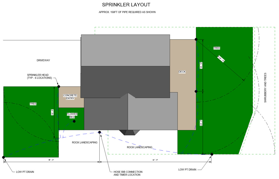 Installing A Simple Diy Sprinkler System Ryan Hobbies Piping Layout Course Im An Engineer So Of I Drew Mine Up In Cad But Pencil And Graph Paper Will Work Just Fine This Is 1 Zone All The Sprinklers Are