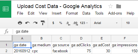 Google Analytics Cost Data Import from Google Sheets