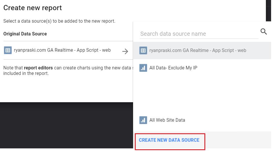 Google Analytics Real-Time Data Studio Dashboard