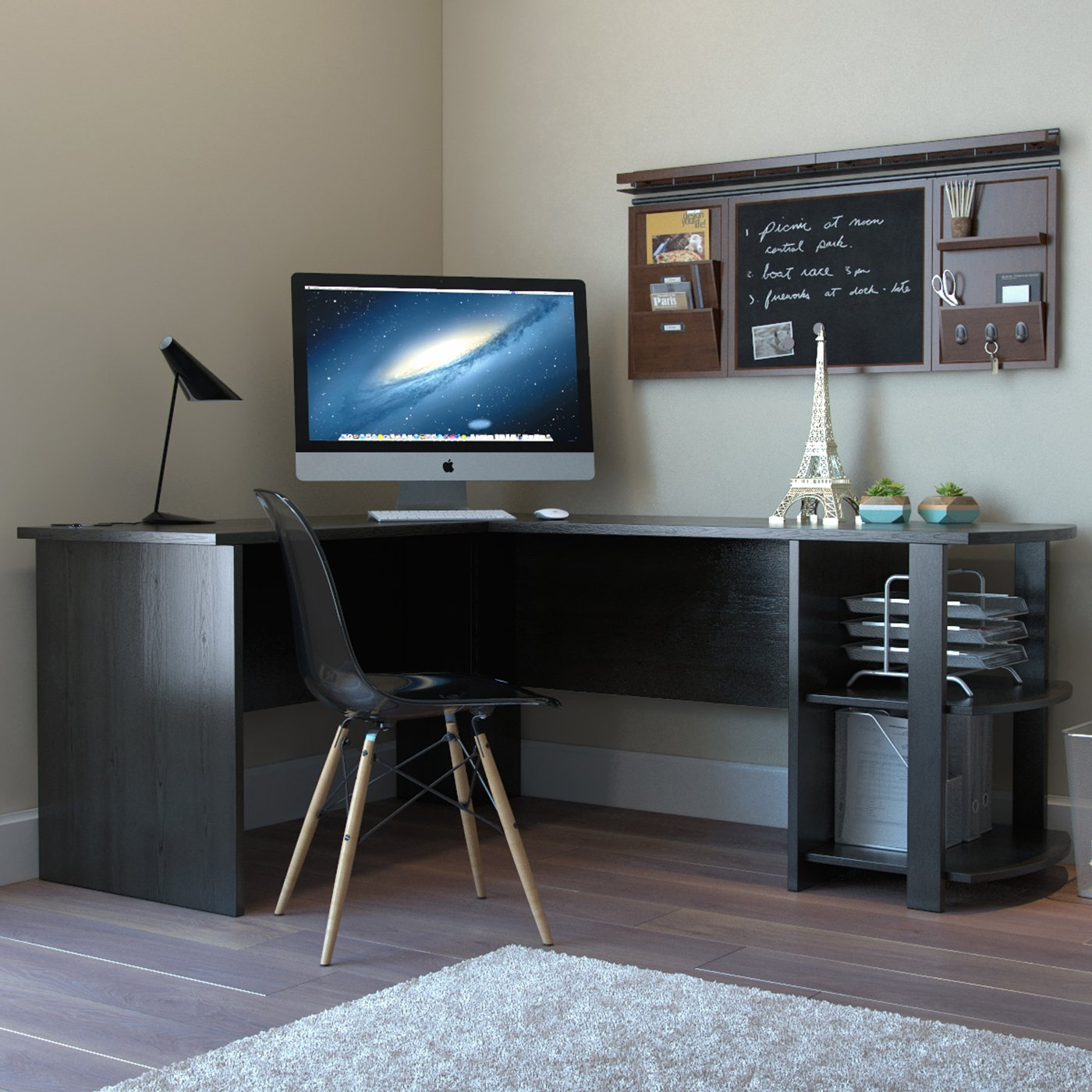 Kristen Corner LShaped Computer Desk in Black