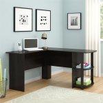 Kristen Corner L Shaped Computer Desk In Dark Russet Cherry