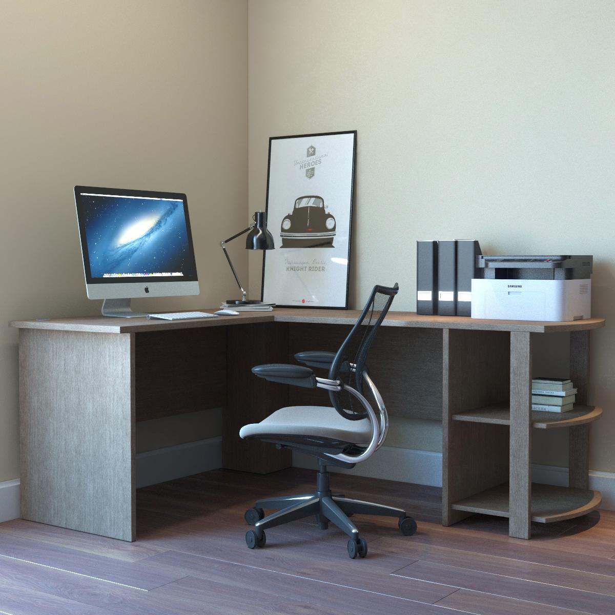 Kristen Corner L Shaped Computer Desk In Salt Oak