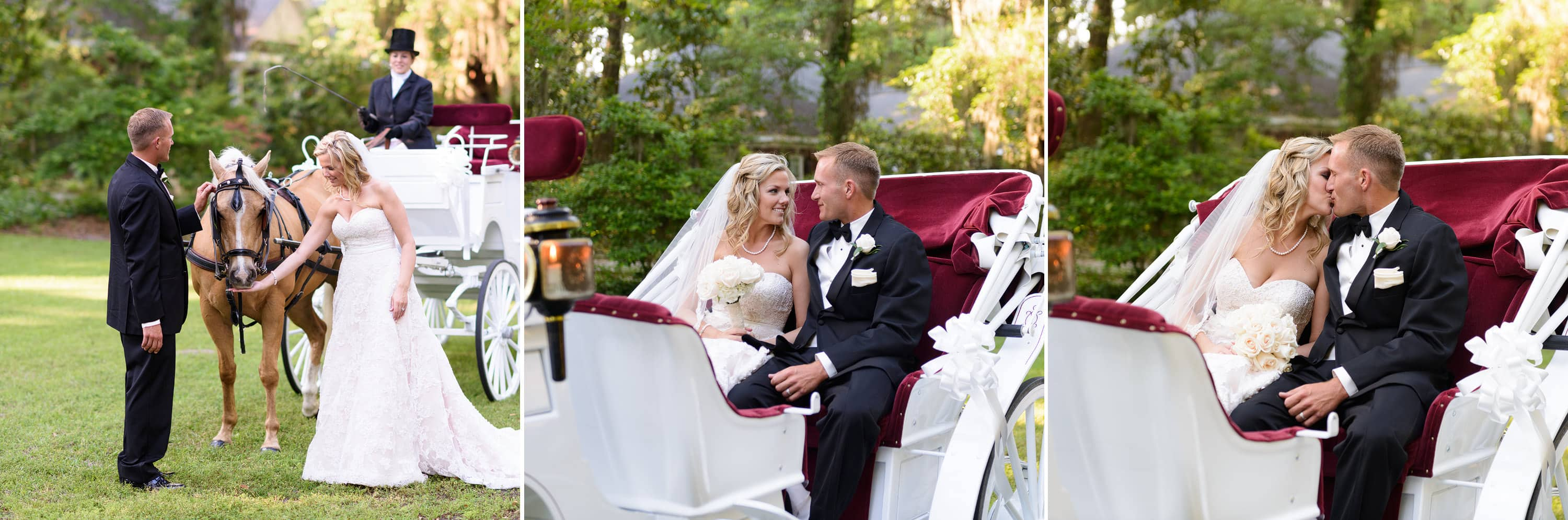 Wedding at Wachesaw Plantation with horse drawn carriage