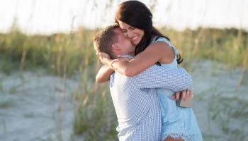 Guy getting a really big hug after surprise proposal - Myrtle Beach State Park