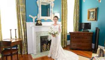 Bride by bedroom fireplace - Rosewood Manor, Marion