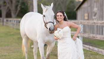 Bride posing with her cheek beside the horse - Upper Mill Plantation