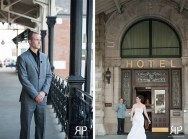 Bride and groom first look at Union Station Hotel