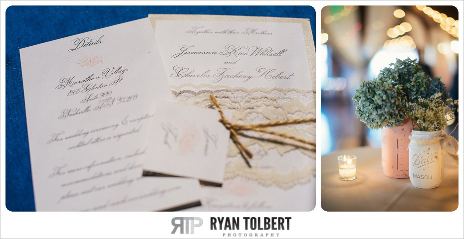 Wedding Invitation and Mason Jar