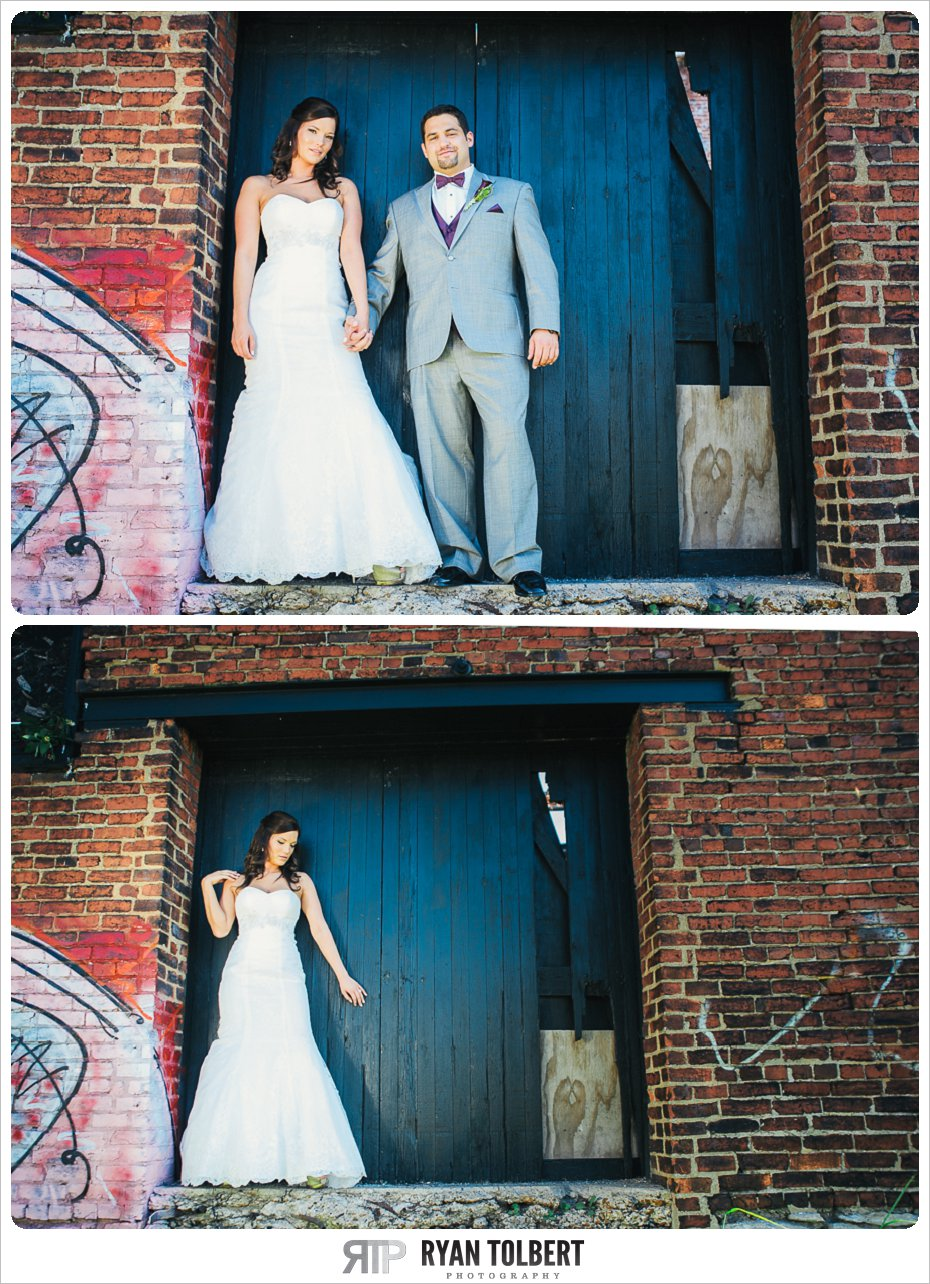 bride and groom behind Marathon Village