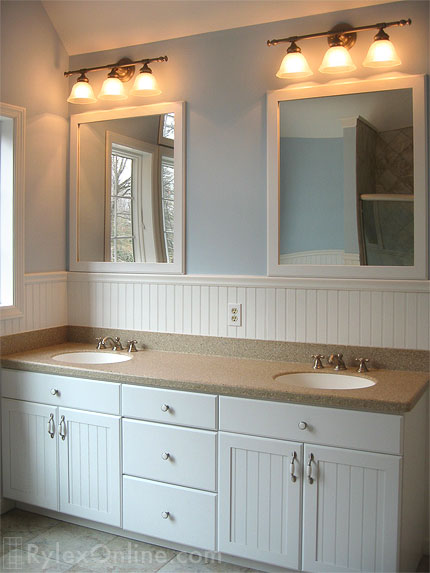 white wainscoting bathroom vanity Wainscot Double Bathroom Vanity | Orange County, NY | Rylex