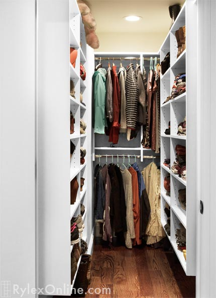 Narrow Walkin Closet  Melamine Bedroom Closet Open