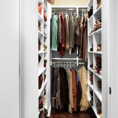 Kitchen Tool Gray Tile Narrow Walk-in Closet | Goshen Rylex Custom Cabinetry