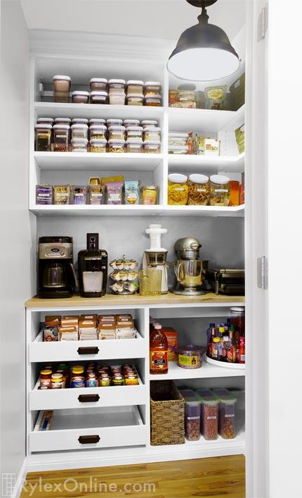 Custom Kitchen Pantry  Adjustable Melamine Shelving