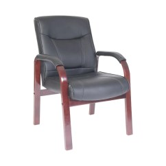 Chair Covers Kingston Canberra Ryman Leather Faced Visitor Black Mahogany