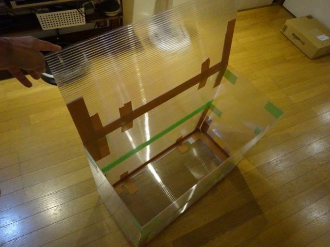 プラダン内箱蓋側も折り畳み式に