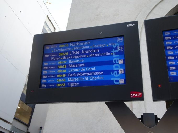 トゥールーズ列車出発時間確認
