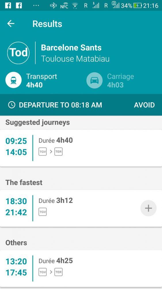 SNCFのチケット購入は電車ごとに