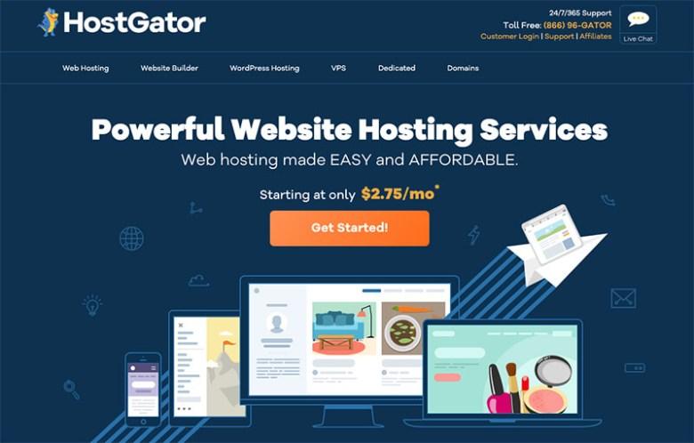 Piani di hosting Web fatturati mensilmente da HostGator come miglior fornitore di hosting