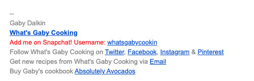 Gaby Dalkin Email Signature Food Blogger