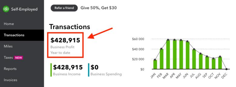 Come fare un blog e profitto (Screenshot Quickbooks) Dati sulle entrate quest'anno