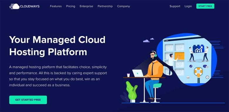 Homepage di piani di hosting mensili Cloudways