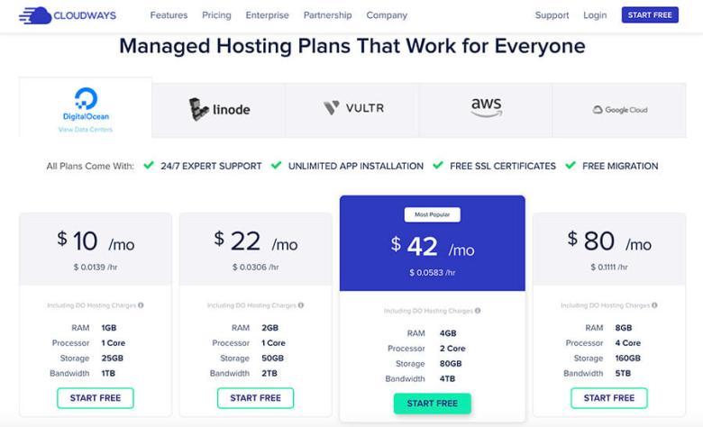 Piani tariffari mensili di hosting Web Cloudways
