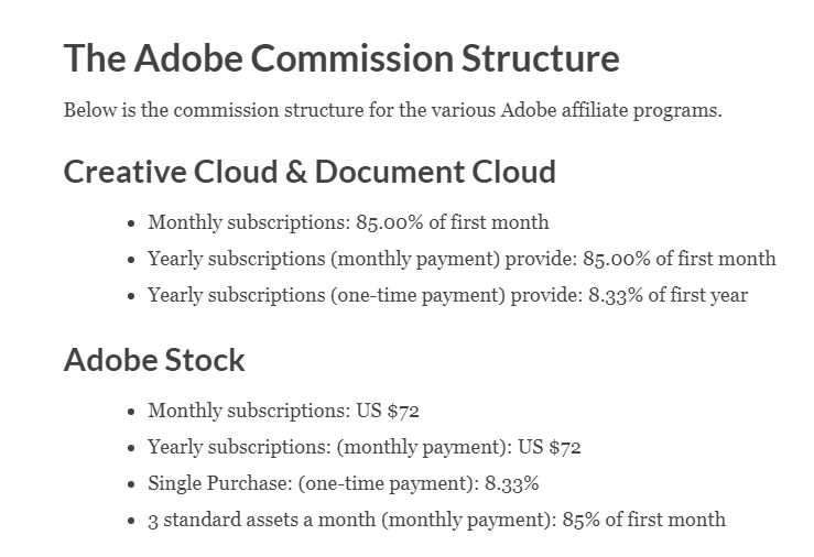 Tassi di pagamento degli affiliati Adobe (Screenshot) e grafica