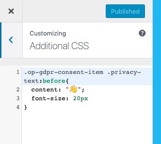 CSS personalizzato in Impostazioni aggiuntive