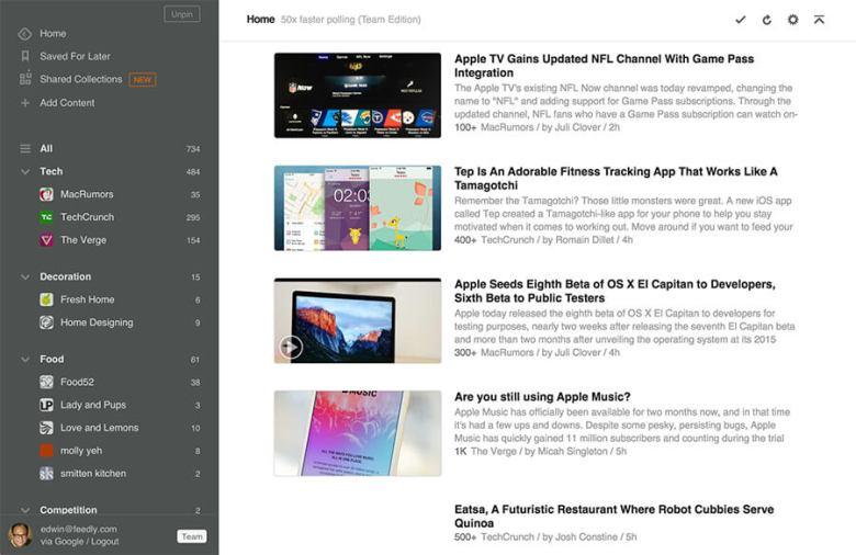 Schermata dell'applicazione Feedly RSS Reader