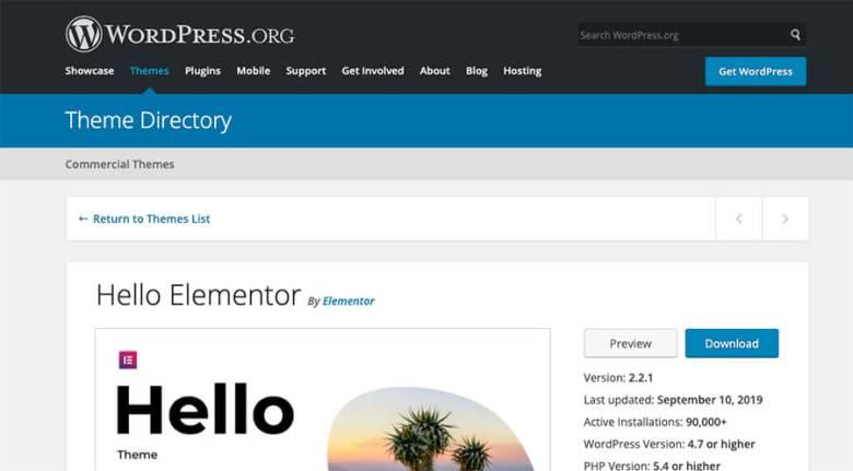 Schermata della directory dei temi di WordPress per il supporto