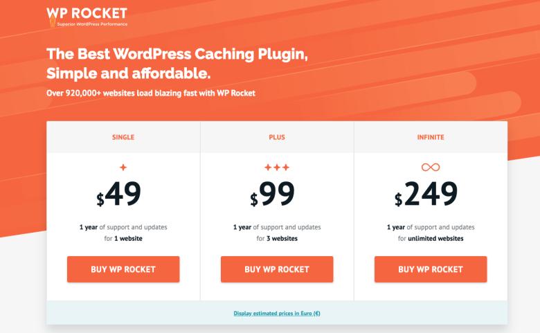 WP Rocket Plugin Costo per iniziare un blog