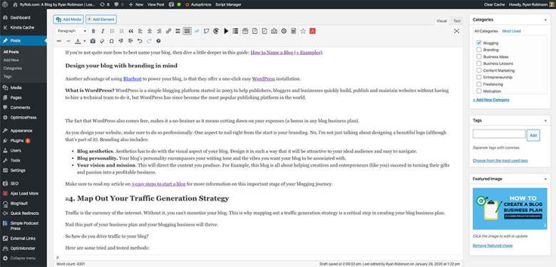 Usa WordPress nel tuo blog Business Plan per la gestione dei contenuti (Screenshot)